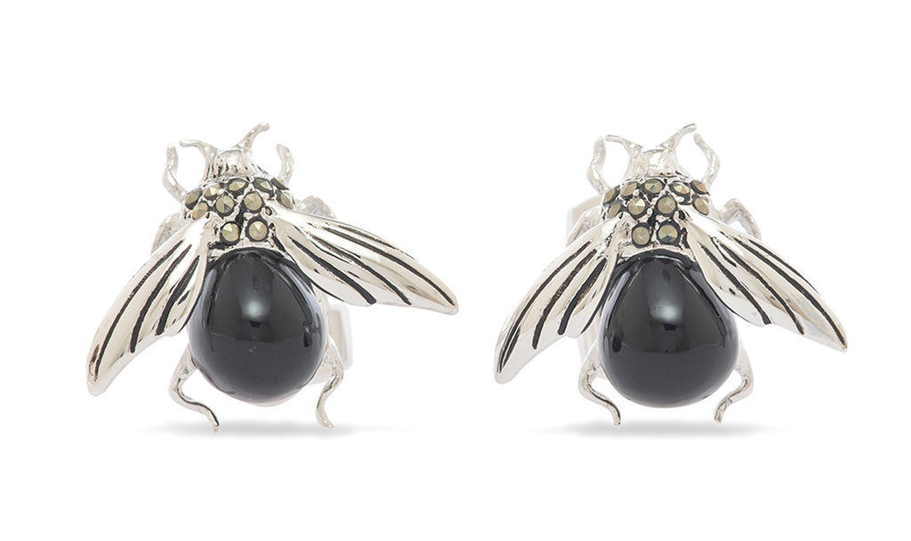 Sterling Onyx Encrusted  Bee Cufflinks - MCM Studio
