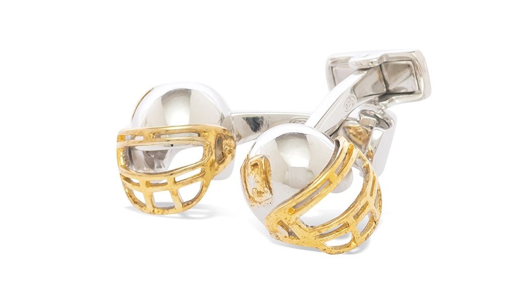 Sterling Football Helmet Cufflinks - MCM Studio