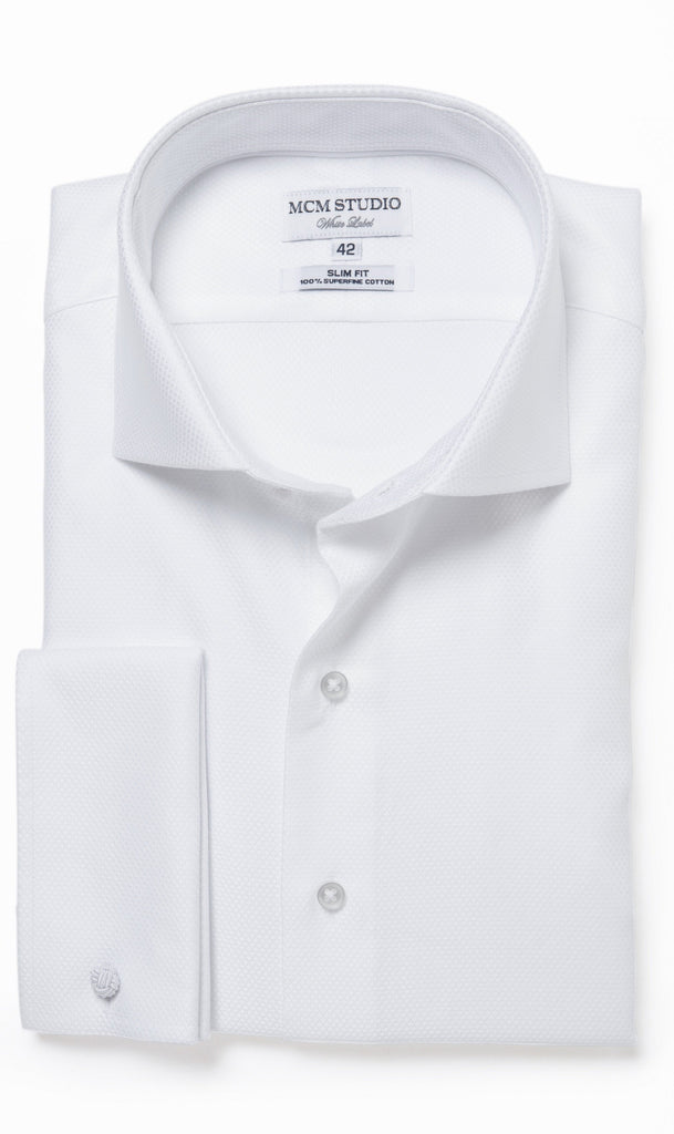MCM Studio WL-105 Luxury Two Ply Solid White Tuxedo Style Shirt