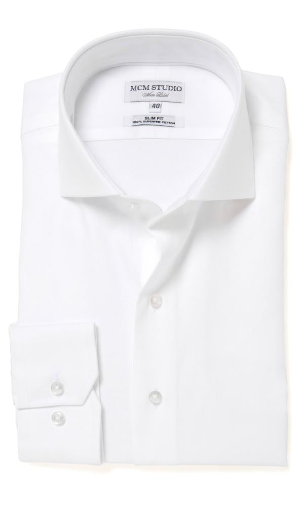 MCM Studio WL-101 Luxury Two Ply Solid White Plain Twill Shirt