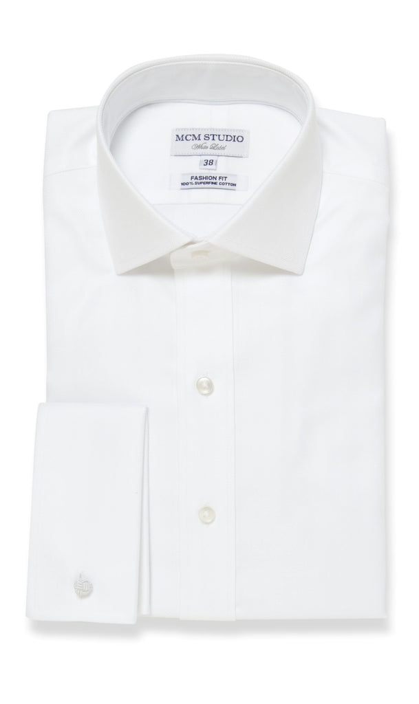 MCM Studio WL-103 Luxury Two Ply Solid White Herringbone Shirt
