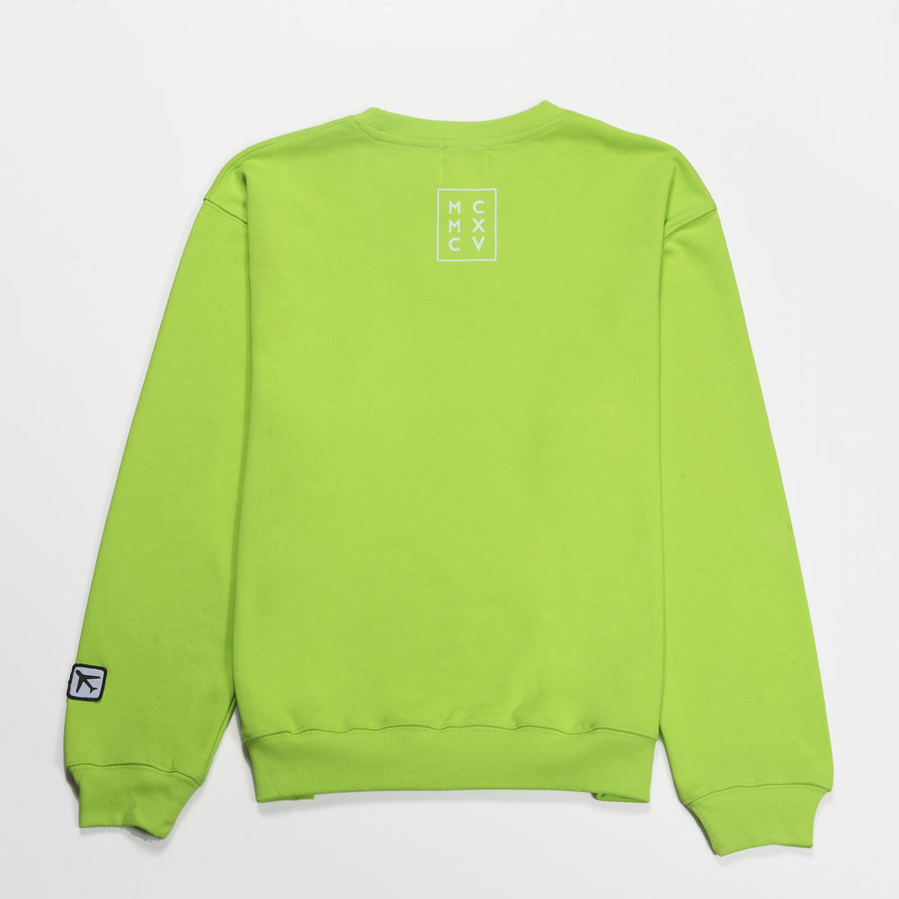 MCM Studio MCMXCV Range Cotton Terry Unisex Oversize Sweater Lime Green