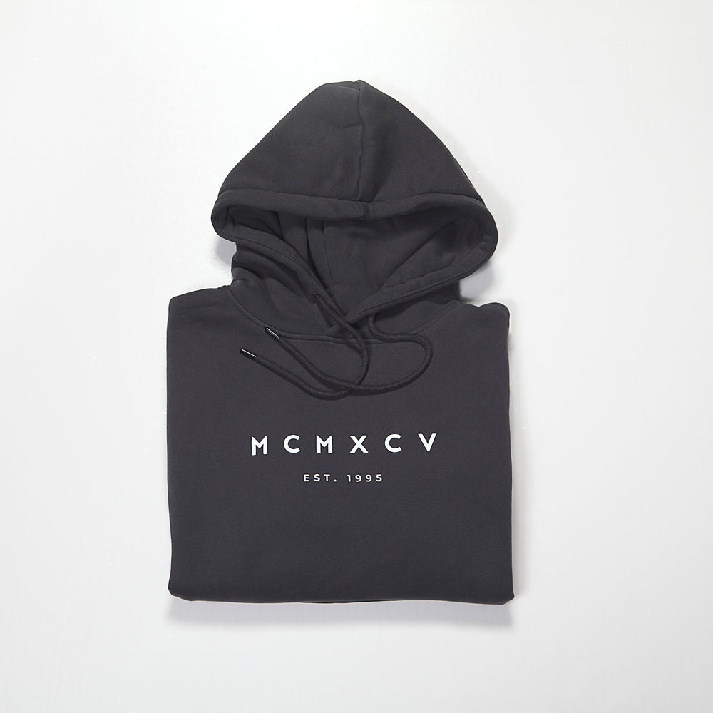 MCMXCV Cotton Fleece Unisex Hoodie Jet Black