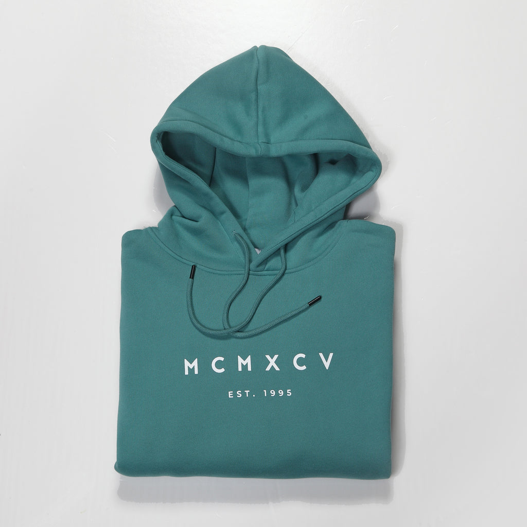 MCMXCV Cotton Fleece Unisex Hoodie Atlantic Green