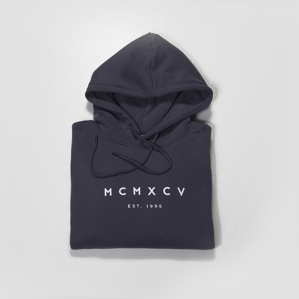 MCMXCV Cotton Fleece Unisex Hoodie Anthracite Grey
