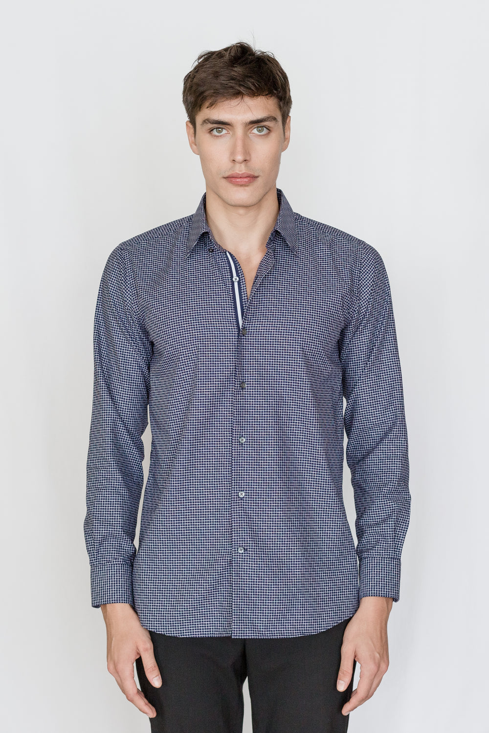 Mason Ward Gotland Navy Casual Check Fashion Fit/ Regular Cuff Shirt