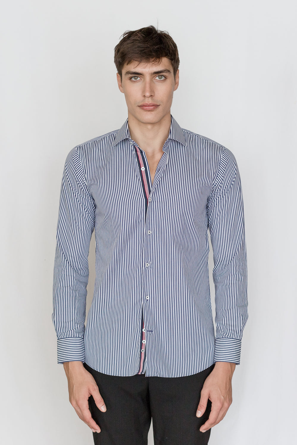 Mason Ward Abenra Navy Stripe Slim Fit/ Regular Cuff Shirt