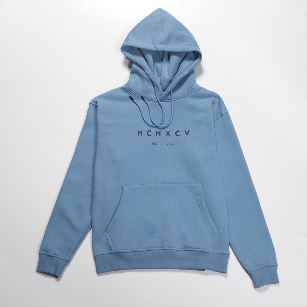 MCMXCV Cotton Fleece Unisex Hoodie Marine Blue