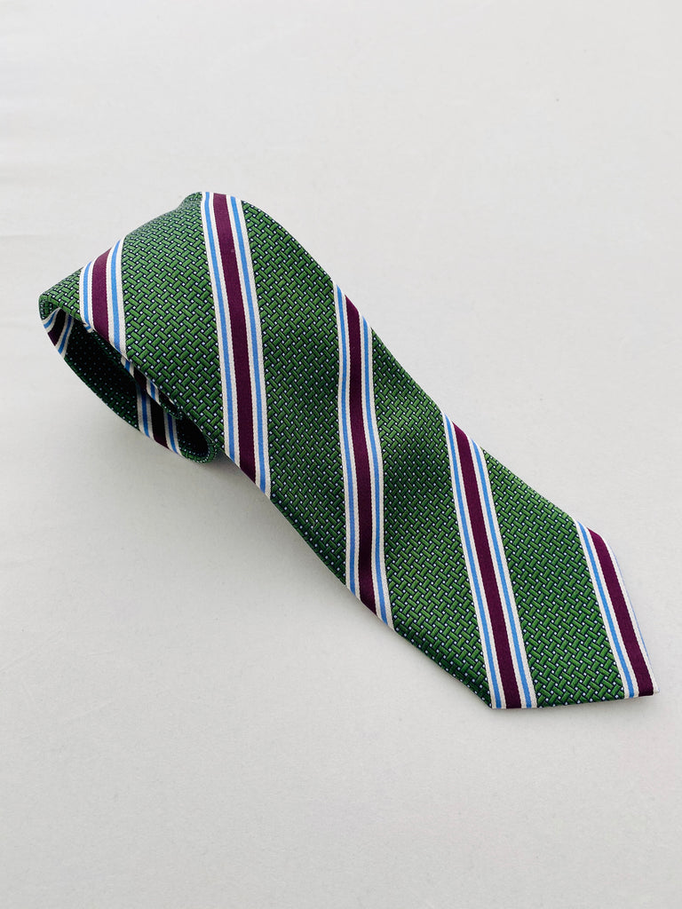 MCM Studio Premium Label Silk Tie Emerald Stripe