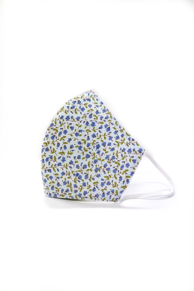 Blue Bottanical Floral Womens Size Reusable Two Layer Mask