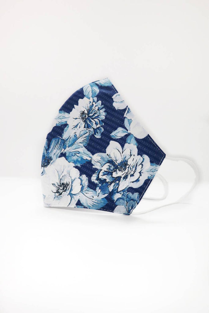 Waikiki Blue Floral Womens Size Reusable Two Layer Mask