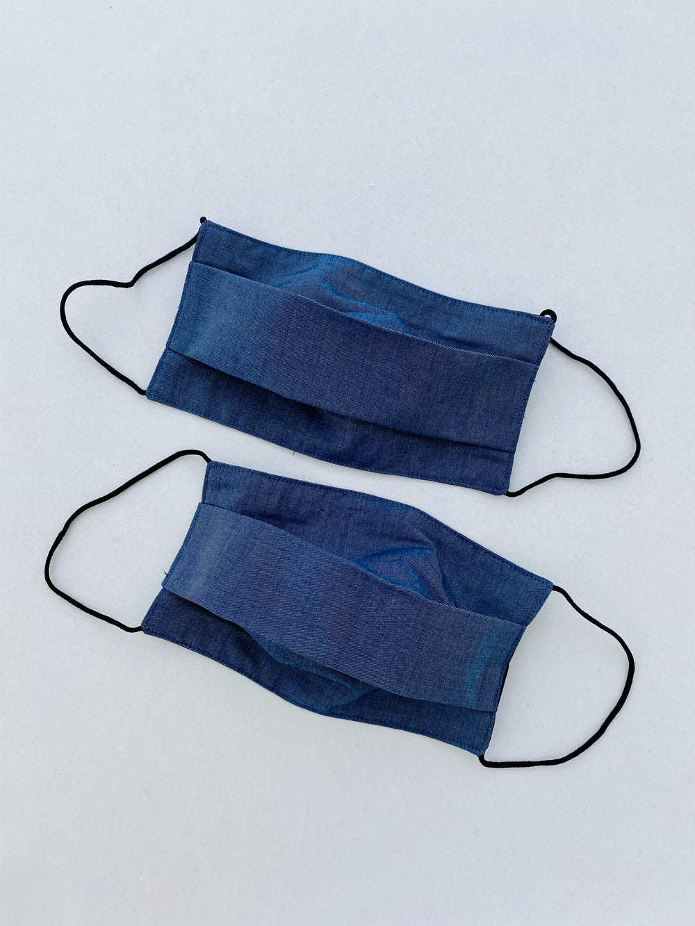 Two Pack Mask B5 Navy Blue Bamboo Reusable Pleat Style Adults Unisex 2 Layer