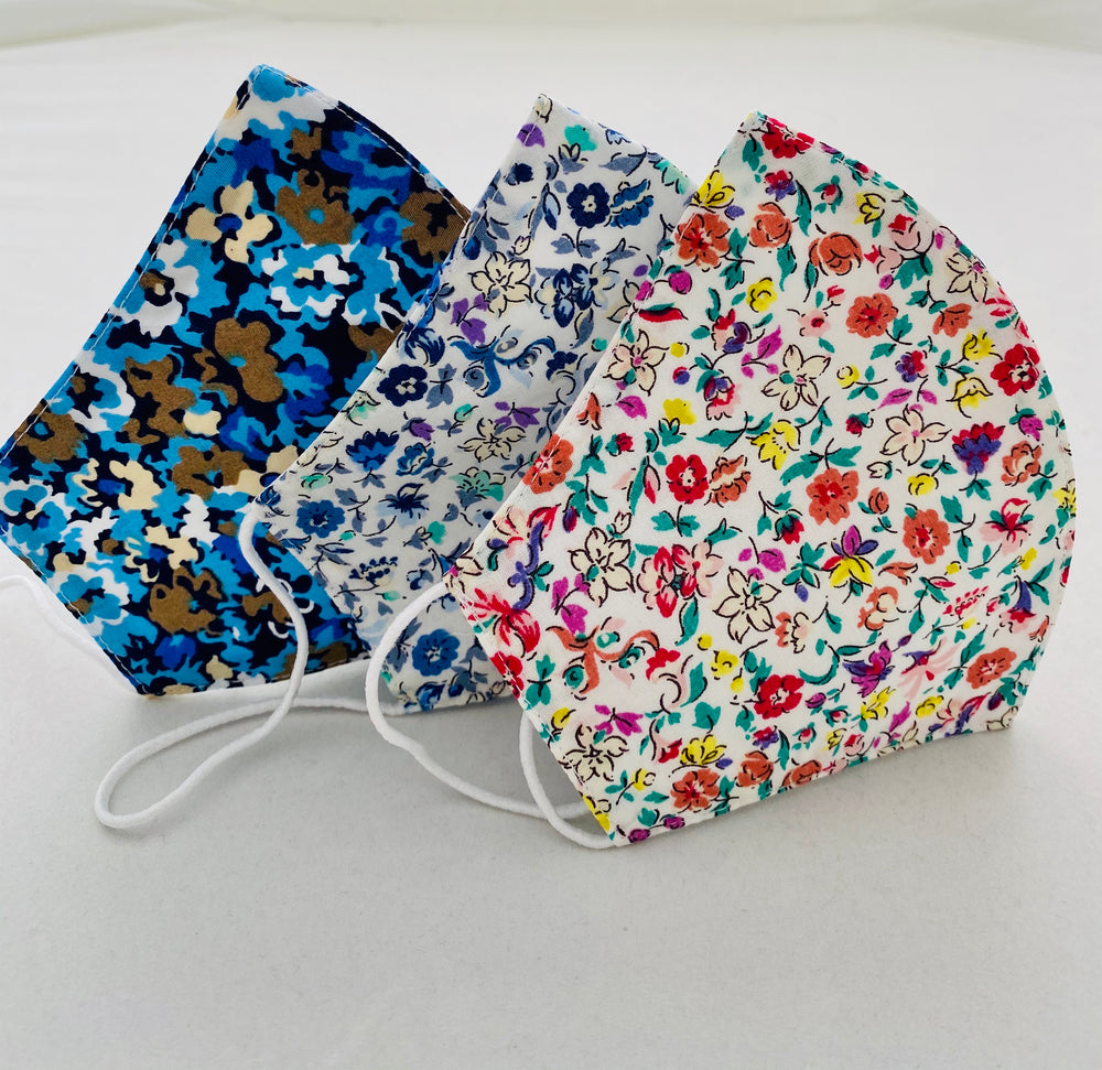 Three Pack Bright Floral Womens Size Reusable Two Layer Mask