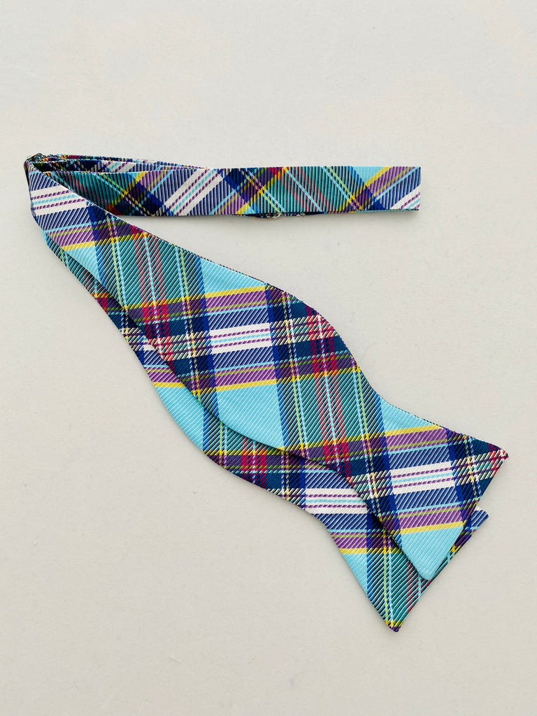 MCM Studio Bow Tie Made In Italy by Fratellini Turquoise Tartan