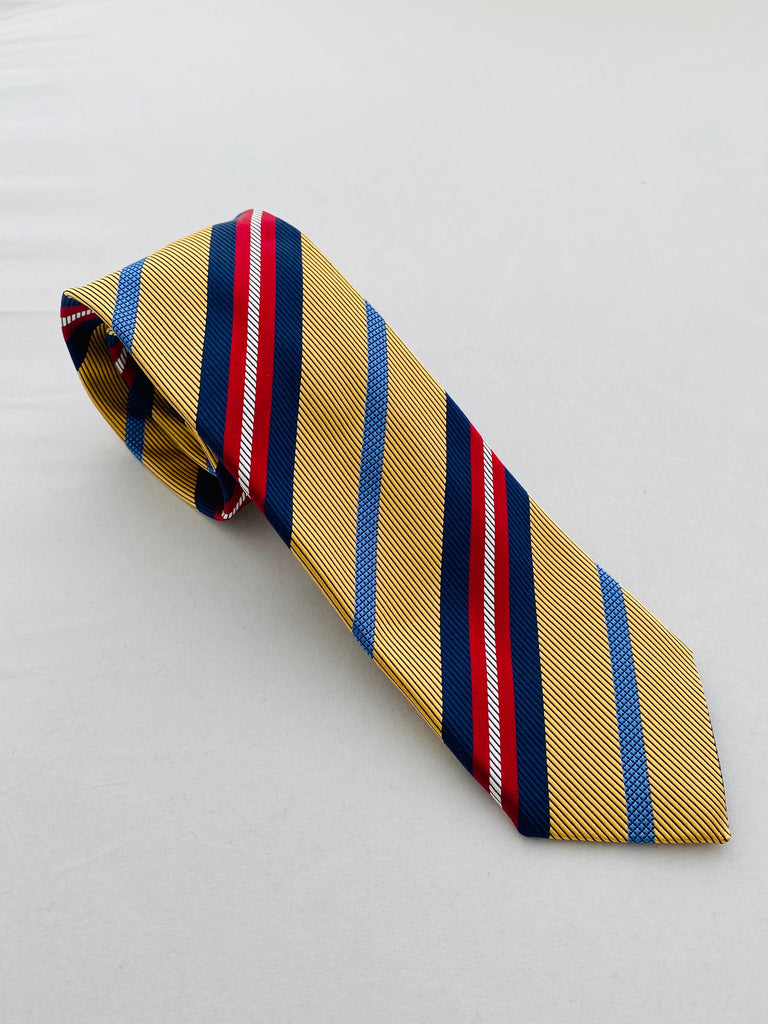 MCM Studio Premium Label Silk Tie Gold Regiment