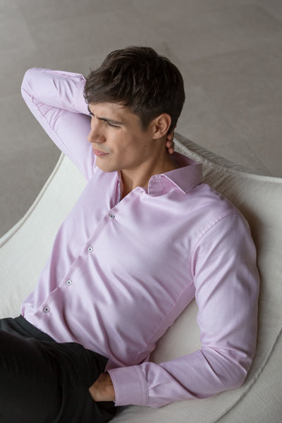 Mason Ward Nyborg Pink Men's Slim Fit/ Regular Cuff Shirt