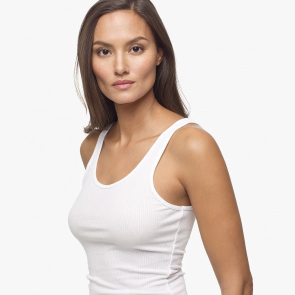 James Perse Ribbed Daily Tank in White at dress boutique SF