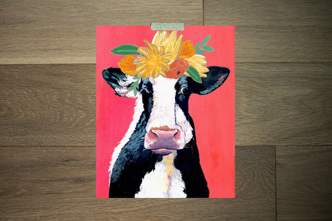 Cow and Flowers - The Stationery Bakery
