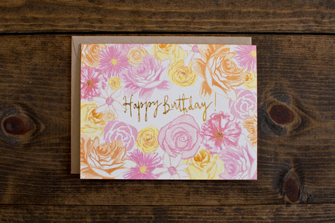 Birthday Flowers Foil - The Stationery Bakery