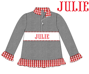 Red Check Name Smock Girls Pullover