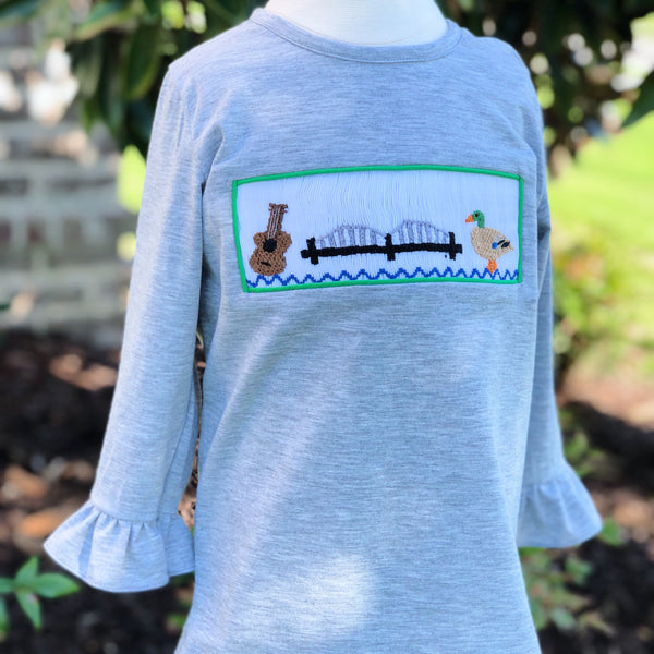 901 Smocked Girls Long Sleeve Shirt