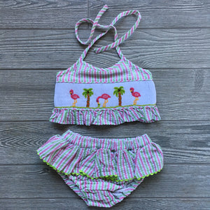Flamingo Smocked Two Piece Swimsuit