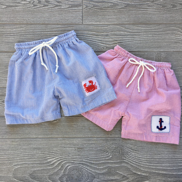 Anchor Smocked Swim Trunks