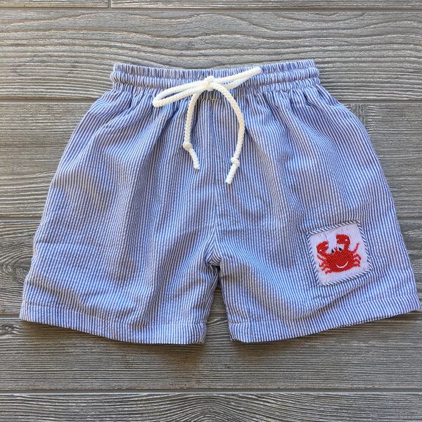 Crab Smocked Swim Trunks