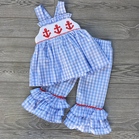 Anchors Aweigh Smocked Girls Pant Set