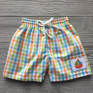 Sailboat Smocked Swim Trunks