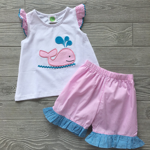 Whale Appliqué Girls Short Set