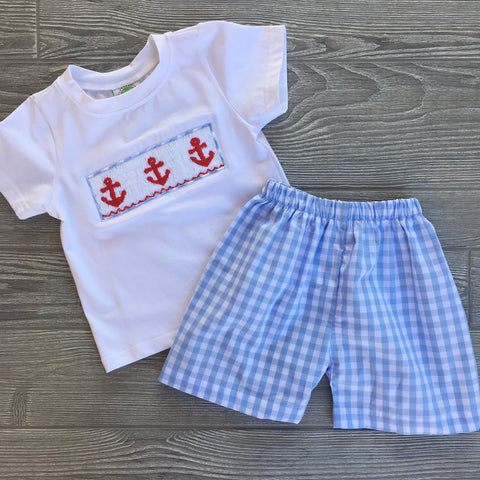 Anchors Aweigh Smocked Boys Short Set