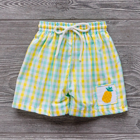 Pineapple Smocked Swim Trunks