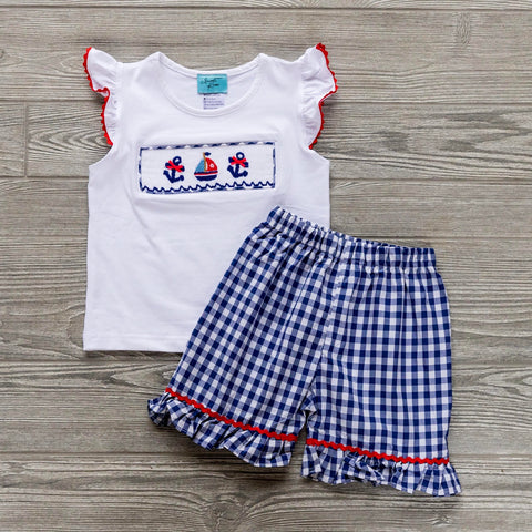 Summer Sailboats Girls Short Set