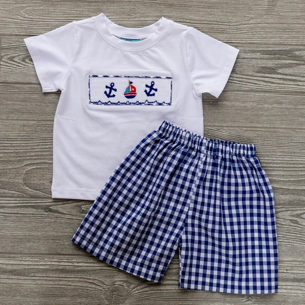 Summer Sailboats Boys Short Set
