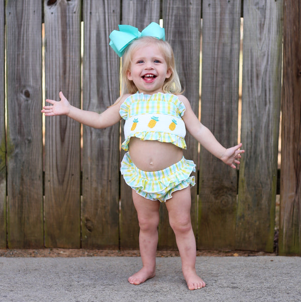 Pineapple Smocked Two Piece Swimsuit