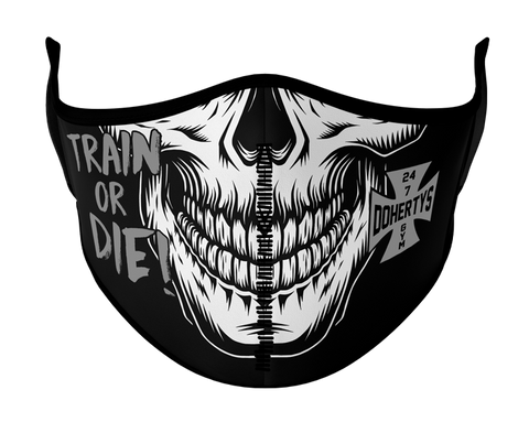 Face Mask - Train or Die Skull with Grey Logo