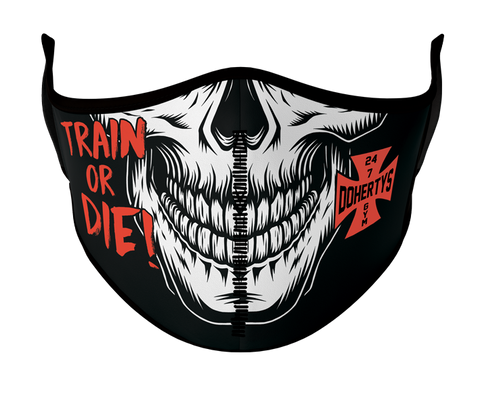 Face Mask - Train or Die Skull with Red Logo