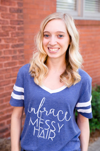 embrace messy hair varsity tee