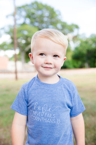love never fails littles triblend tee