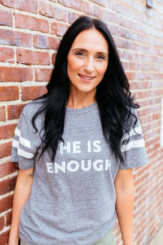 He is enough football tee