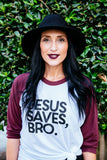 Jesus saves bro baseball tee