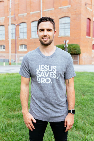 Jesus saves bro crew neck