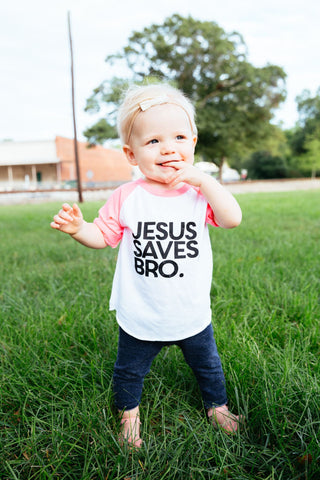 Jesus saves bro littles baseball tee