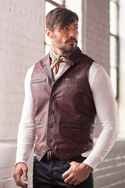 Ryan Michael Men's Perfect Leather Vest - Brown - SALE