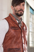 Ryan Michael Men's Perfect Leather Vest - Saffron - SALE