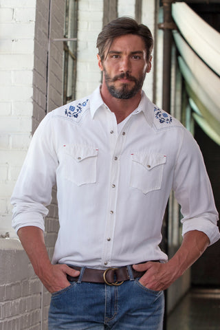 Ryan Michael Men's Silk Linen Western Shirt - White - SALE