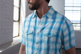 Ryan Michael Men's Short Sleeve Ombre Plaid Shirt - SALE