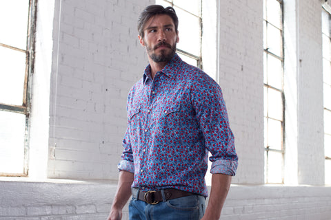 Ryan Michael Men's Floral Print Western Shirt - SALE