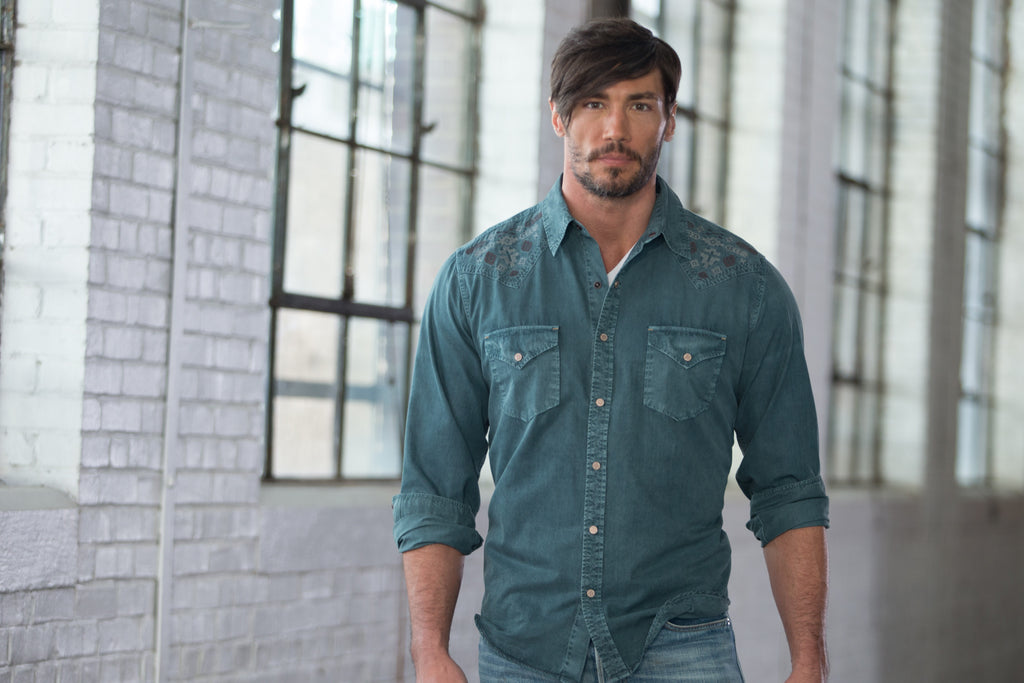 Ryan Michael Men's Silk Embroidered Shirt - Evergreen - SALE